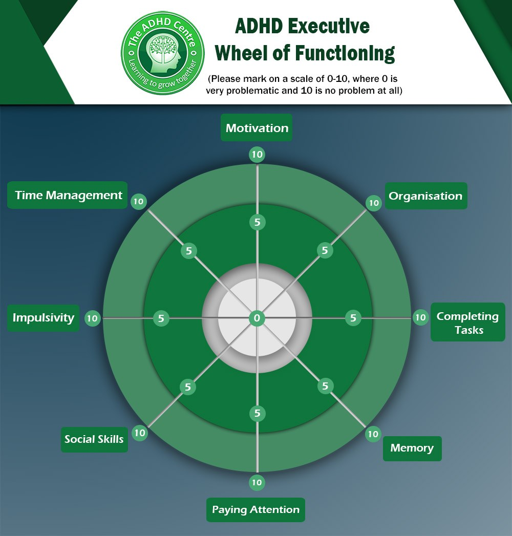 infographic about ADHD Executive Wheel of Functioning