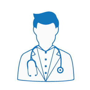 an image icon of a doctor with a blue lines