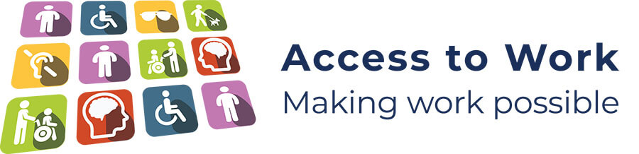 a graphical illustration of access to work logo