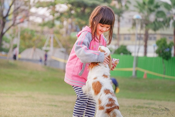 a girl child playing with the dog