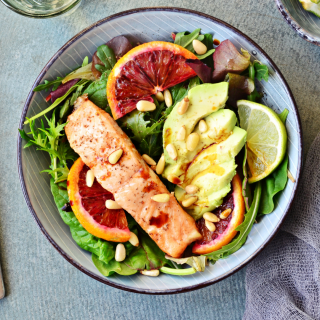delicious tuna with greens on a plate